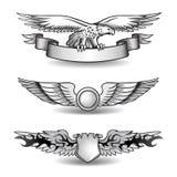 Récompenses à ailes réglées avec Eagle Photos stock