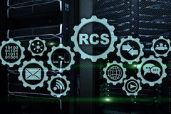 RCS Rich Communication Services protocolo do ommunication Conceito da tecnologia imagens de stock