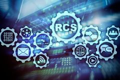 RCS Rich Communication Services protocolo do ommunication Conceito da tecnologia foto de stock