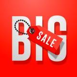 Röd affisch för stor försäljning med prislappen Arkivbild
