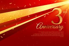 3rd anniversary celebration card template Royalty Free Stock Images