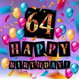 64rd Anniversary Celebration Design. With gift box, balloons and confetti, Colorful Vector template elements for your, sixty three years birthday celebration Royalty Free Stock Photos