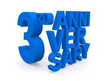 3rd anniversary sign. 3d illustration of a blue third anniversary sign isolated on a white studio background Royalty Free Stock Photos