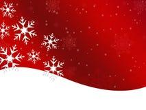 Röd bakgrund för vintersnöflinga Arkivbilder