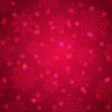 Röd bakgrund med snöflingan och bokeh, vektor Royaltyfri Foto