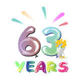 63rd birthday celebration card. Stock Images