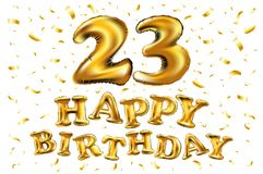 23rd Birthday celebration with gold balloons and colorful confetti glitters. 3d Illustration design for your greeting card, birthd Royalty Free Stock Photography