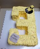 3rd birthday yellow cake royalty free stock photo