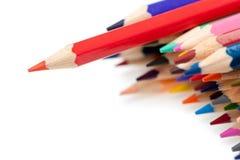 Röd blyertspenna - ledare Royaltyfria Bilder