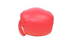 Röd boxninghandske i vit bakgrund Arkivbild