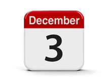 3rd December. Calendar web button - The Third of December - International Day of Persons with Disabilities, three-dimensional rendering, 3D illustration Stock Photography
