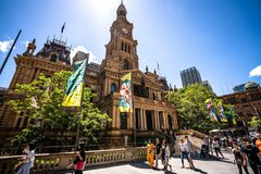 Streetview and front view of Sydney town hall a Victorian Second Empire architecture building in NSW Australia royalty free stock photo
