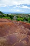 Rd dirt  landscape at Waimea canyon Stock Photos