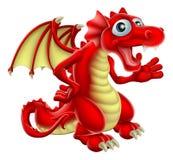 Röd drake för tecknad film Royaltyfria Bilder