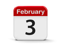 3rd February. Calendar web button - The Third of February - National Carrot Cake Day, three-dimensional rendering, 3D illustration Stock Photo