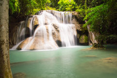 3 rd floor of huaymaekamin waterfall. Kanchanaburi province,Thailand royalty free stock photography