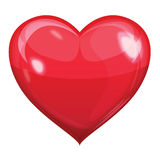 Röd glansig hjärtavektor Fotografering för Bildbyråer
