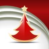 Röd glansig julgran Arkivbild