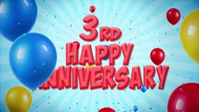 3rd Happy Anniversary red greeting and wishes with balloons, confetti looped motion