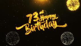 73rd Happy Birthday Text Greeting, Wishes, Celebration, invitation Background. 73rd Happy Birthday Text Greeting and Wishes card Made from Glitter Particles From vector illustration