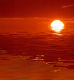 Röd havsolnedgång Arkivfoton