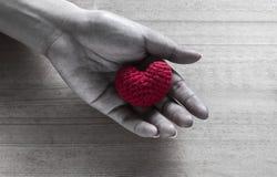 Röd hjärta format silke på händer Arkivfoto