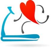 Röd hjärta på en treadmill Royaltyfria Foton