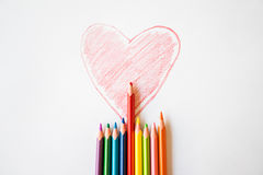 röd hjärta som målas Arkivfoto