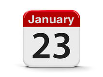 23rd January. Calendar web button - The Twenty Third of January, three-dimensional rendering, 3D illustration Royalty Free Stock Photos