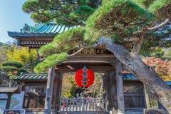 Röd jätte- lykta på den främre porten av den Hasedera templet i Kamakura Arkivbild