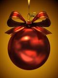 Röd julboll Fotografering för Bildbyråer