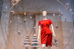 Röd klänning för jul Royaltyfri Fotografi