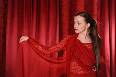röd kvinna Arkivfoton