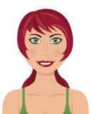 Röd kvinna för gröna ögon för hår Arkivfoton