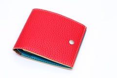Röd läderplånbok Arkivbild