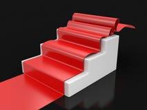 Röd matta på trappuppgång Fotografering för Bildbyråer