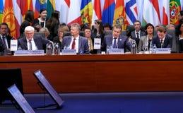 23rd ministeriella råd för OSSE i Hamburg Arkivbild