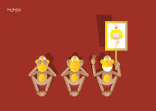 3-the 3rd monkey Royalty Free Stock Photo