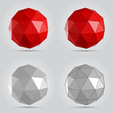 Röd och grå låg poly abstrakt sfärvektorillustration Fotografering för Bildbyråer