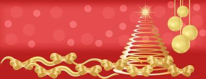 Röd och guld- julpanoramabakgrund Arkivfoton
