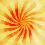Röd och orange tappningsunburstvirvel för Grunge, piruettbakgrund Arkivbild