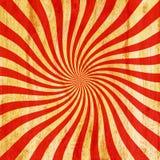 Röd och orange tappningsunburstvirvel för Grunge, piruettbakgrund t Arkivbild