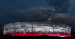Röd och vit stadion Arkivfoto