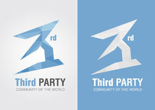 3rd Party icon symbol from an alphabet letter number 3. Stock Photo