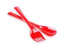 Röd plast- knivgaffel Royaltyfria Foton
