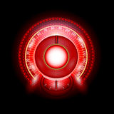 Röd skinande hastighetsmätare för bilrundaabstrakt begrepp med pilindikatorer Fotografering för Bildbyråer