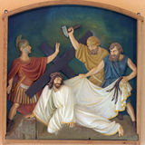 3rd Stations of the Cross, Jesus falls the first time Stock Photo