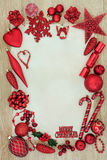 Röd struntsakbakgrund för jul Arkivbild