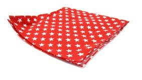 Röd tablecloth med vita stjärnor Arkivfoton