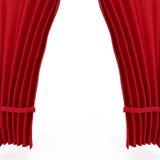 röd teatersammet för courtains Arkivfoto